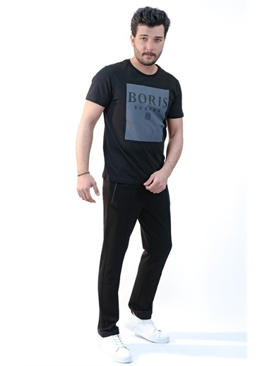 Boris Becker Slim Fit Baskılı Tişört Siyah